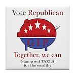 Tax Cut Pig Tile Coaster