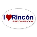 I Love Rincon Oval Sticker