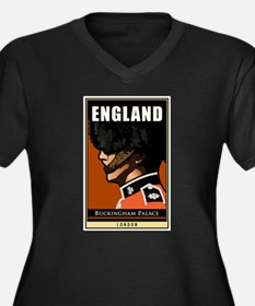 England Women's Plus Size V-Neck Dark T-Shirt