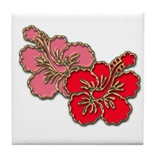 Pink and Red Hibiscus Tile Coaster