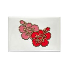 Pink and Red Hibiscus Rectangle Magnet