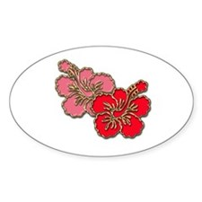 Pink and Red Hibiscus Oval Decal