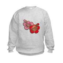 red and Pink Hibiscus Sweatshirt