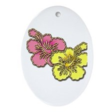 Yellow Pink Hibiscus Oval Ornament