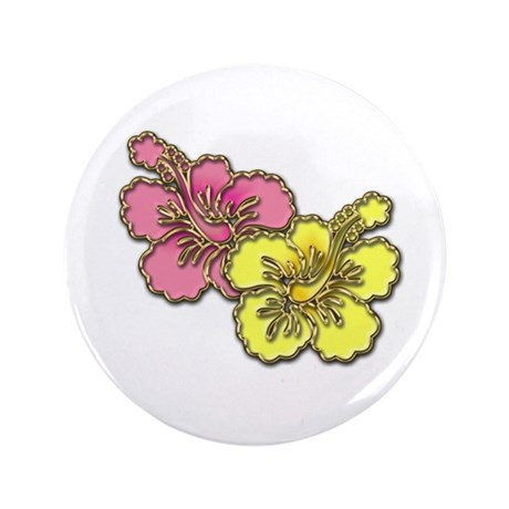 """Yellow Pink Hibiscus 3.5"""" Button"""