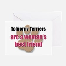 Tchiorny Terriers woman's best friend Greeting Car