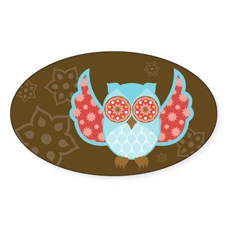 Bohemian Owl - Oval Sticker