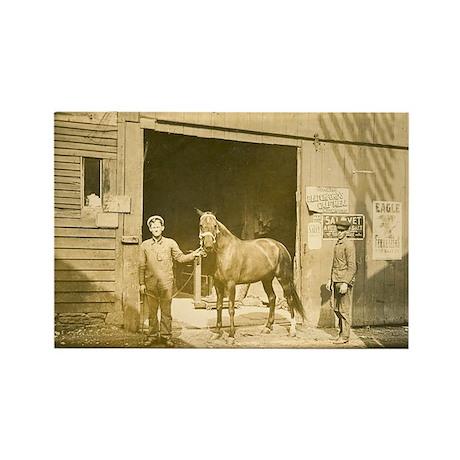 Horse, Barn, Men Rectangle Magnet (100 pack)