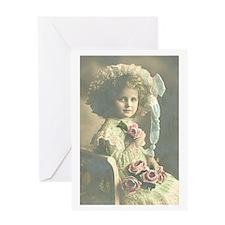 Roses Girl Greeting Card