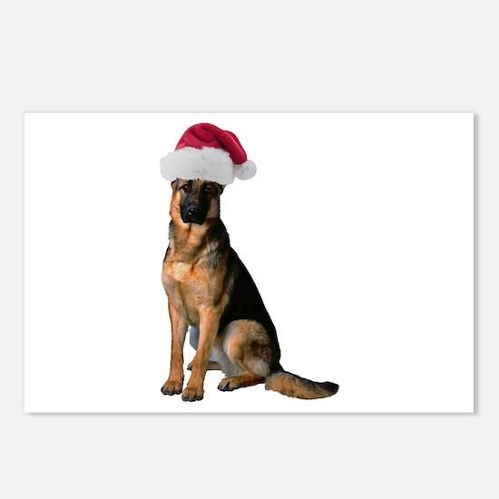 Santa German Shepherd Postcards (Package of 8)