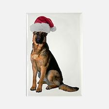 Santa German Shepherd Rectangle Magnet