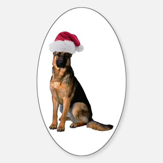 Santa German Shepherd Oval Decal