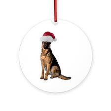 Santa German Shepherd Ornament (Round)