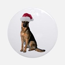 Santa German Shepherd Ornament (Round)