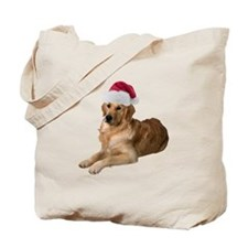 Santa Golden Retriever Tote Bag