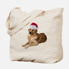 Santa Golden Retriever Tote Bag