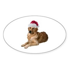 Santa Golden Retriever Oval Decal