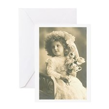 Roses Girl BW Greeting Card