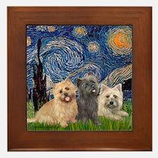 Starry/3 Cairn Terriers Framed Tile