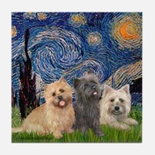 Starry/3 Cairn Terriers Tile Coaster