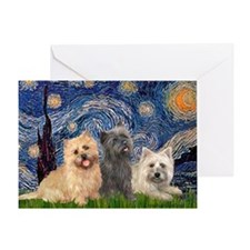 Starry/3 Cairn Terriers Greeting Card