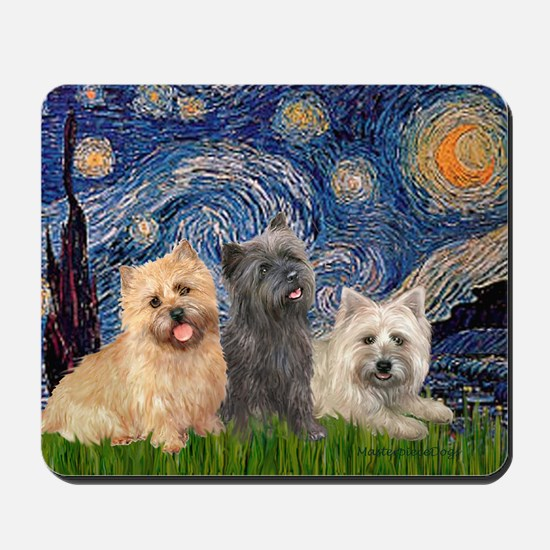 Starry/3 Cairn Terriers Mousepad