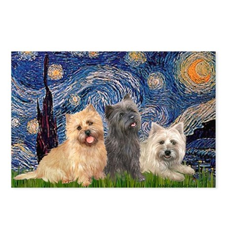 Starry/3 Cairn Terriers Postcards (Package of 8)