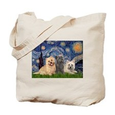 Starry/3 Cairn Terriers Tote Bag