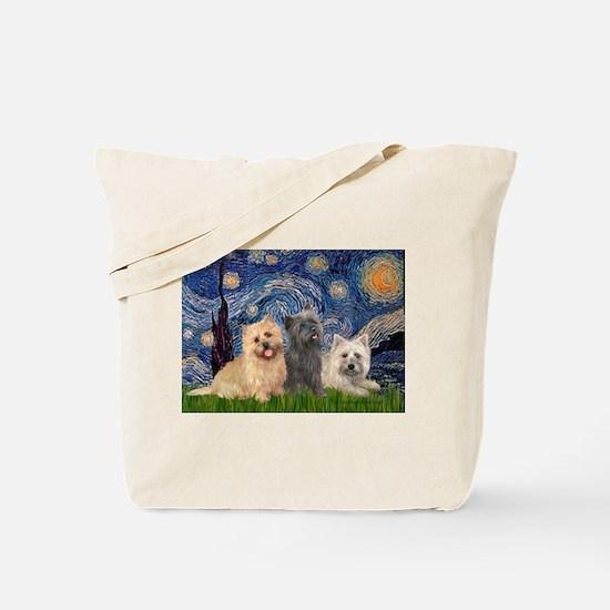 Starry/3 Cairn Terriers Tote Bag