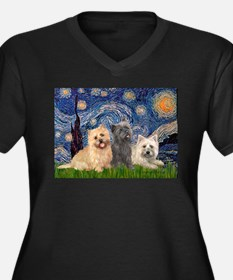 Starry/3 Cairn Terriers Women's Plus Size V-Neck D