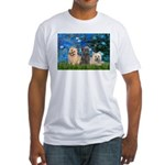 Lilies3/3 Cairn Terriers Fitted T-Shirt
