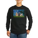 Lilies3/3 Cairn Terriers Long Sleeve Dark T-Shirt