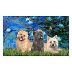 Lilies3/3 Cairn Terriers Sticker (Rectangle)