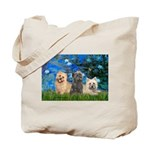 Lilies3/3 Cairn Terriers Tote Bag