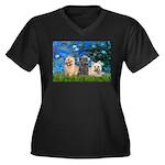 Lilies3/3 Cairn Terriers Women's Plus Size V-Neck