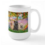 Garden/3 Cairn Terriers Large Mug