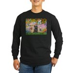 Garden/3 Cairn Terriers Long Sleeve Dark T-Shirt