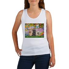 Garden/3 Cairn Terriers Women's Tank Top