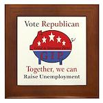Unemployment Pig Framed Tile