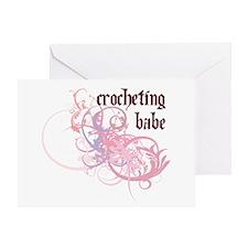 Crocheting Babe Greeting Card