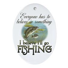 Believe in Fishing Oval Ornament