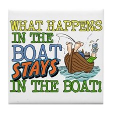 STAYS IN THE BOAT Tile Coaster