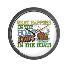 STAYS IN THE BOAT Wall Clock