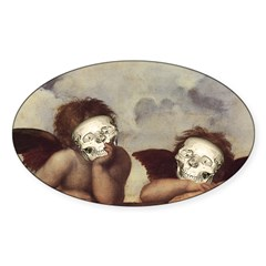 Raphael's Cherubs Oval Sticker (10 pk)