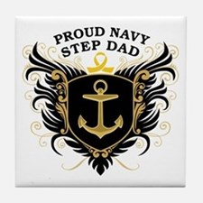 Proud Navy Step Dad Tile Coaster