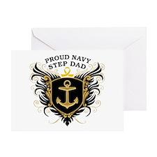 Proud Navy Step Dad Greeting Card