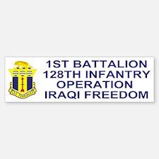 1-128th Infantry <BR>Iraqi Freedom Bumper Bumper Bumper Sticker
