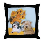 Sunflowers/PBGV8+Wheaten8 Throw Pillow