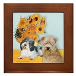 Sunflowers/PBGV8+Wheaten8 Framed Tile
