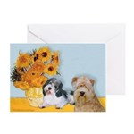 Sunflowers/PBGV8+Wheaten8 Greeting Card
